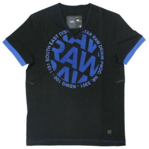 G-STAR STYLE:AIDEN V T S/S BLACK COMPACT JERSEY