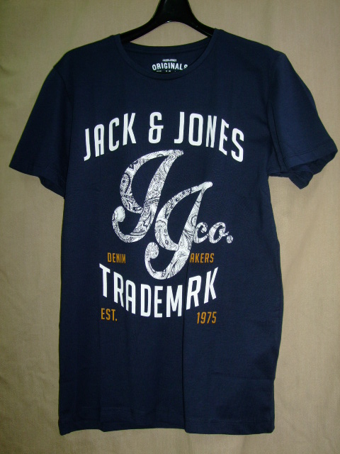 Jack and Jones Men's Traffic Short Sleeve T-Shirt, Blue (Navy BlazerInac Gold White), Small