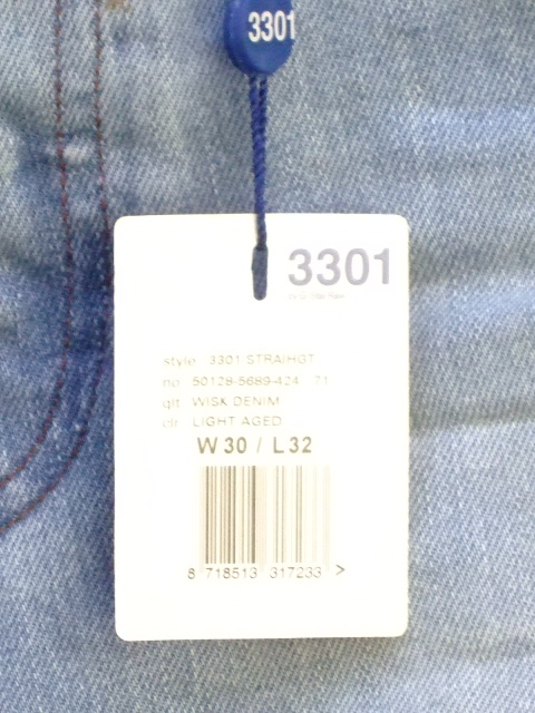 G-STAR RAW 3301 STRAIGHT WISK DENIM LIGHT AGED W30×L32