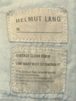 HELMUT LANG LOW WAIST BOOT CUT CONTOUR FIT 31 100%COTTON MADE IN ITALY
